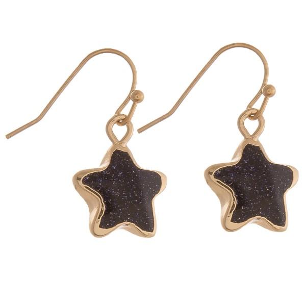 "Semi precious star earrings.  - Approximately 1"" in length"