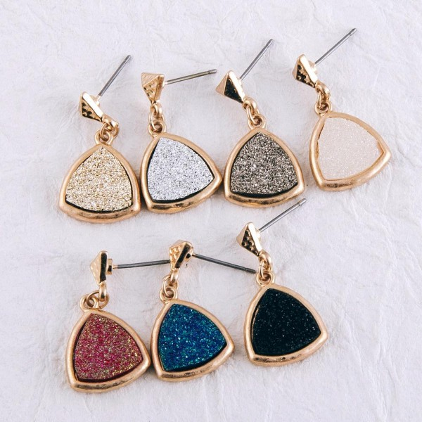 """Hammered druzy drop earrings.  - Approximately 1"""" in length"""
