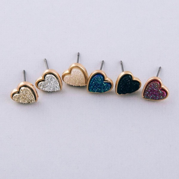 Druzy heart stud earrings.  - Approximately 1cm in size