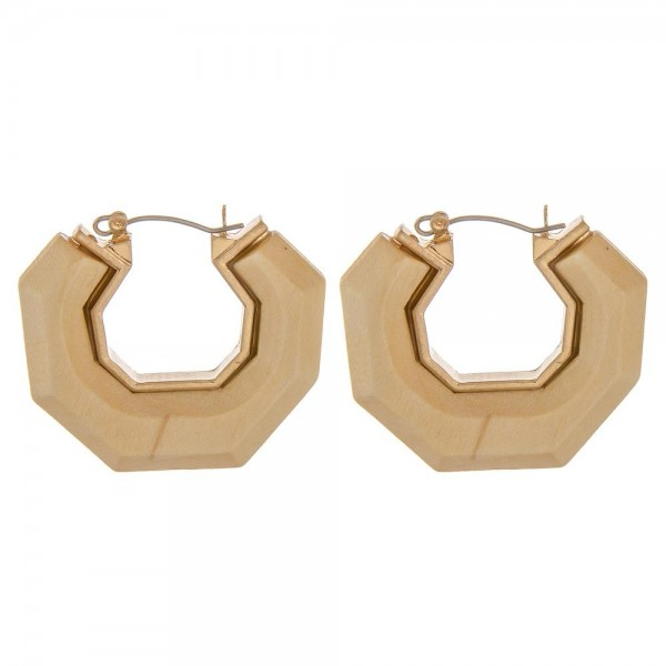 "Raised wood octagon pin catch hoop earrings.  - Approximately 1.5"" in diameter"