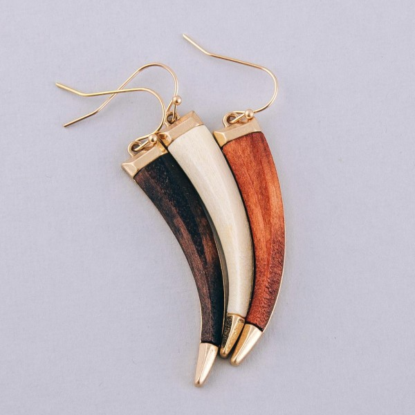 "Wood tusk horn drop earrings.  - Approximately 2"" in length"