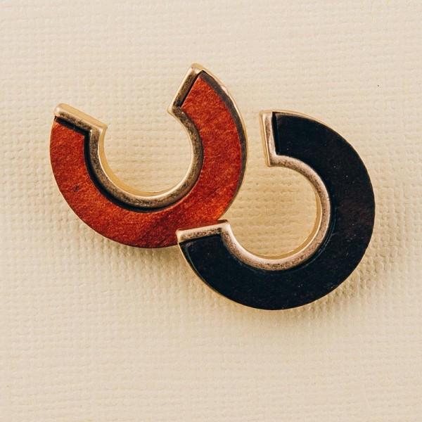 """Wood encased open circle stud earrings.  - Approximately 1"""" in diameter"""