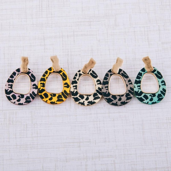 """Retro triangle animal print drop earrings.  - Approximately 2"""" in length"""