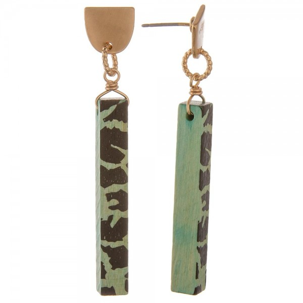 "Animal print wood bar drop earrings.  - Approximately 2"" in length"