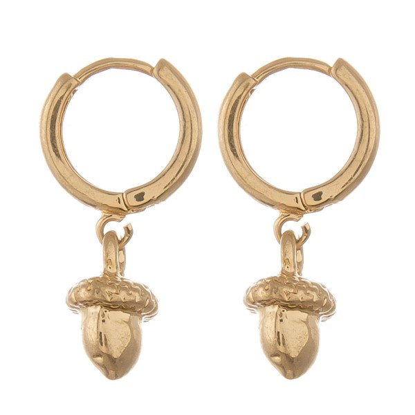 "Dainty Gold Brass acorn huggie hoop earrings.  - Approximately .75"" L - 1cm in hoop diameter"
