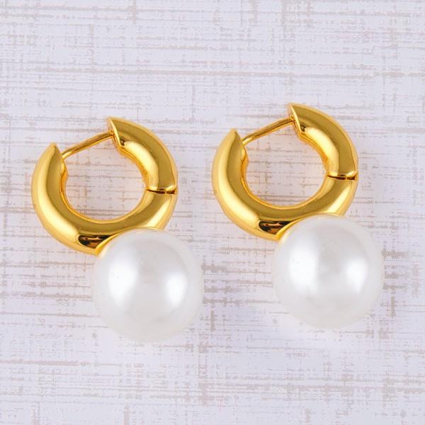"Gold Brass chunky pearl huggie hoop earrings.  - Approximately 1"" in length"