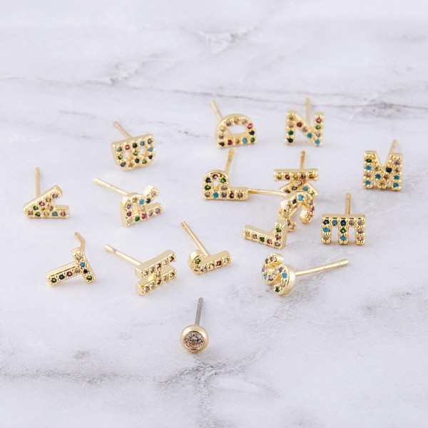 Dainty 16k Gold dip plated cubic zirconia initial A mix match stud earrings.  - Approximately 5mm