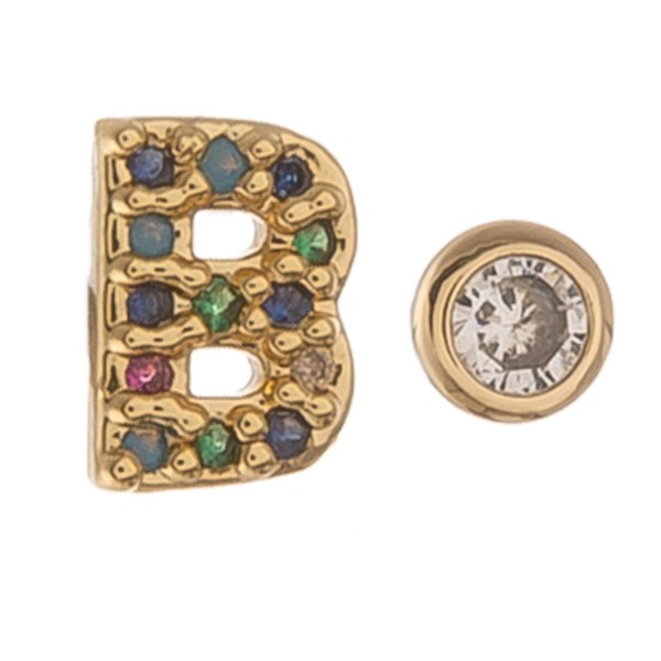 Dainty 16k Gold dip plated cubic zirconia initial B mix match stud earrings.  - Approximately 5mm