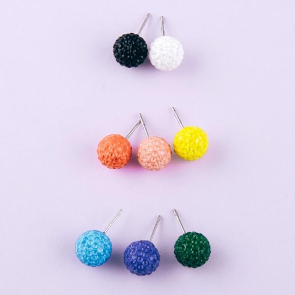 Colored rhinestone stud earrings.  - Approximately 1cm in diameter