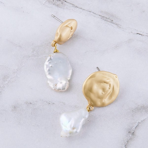 "Brass faux pearl drop earrings.  - Approximately 1.25"" in length"