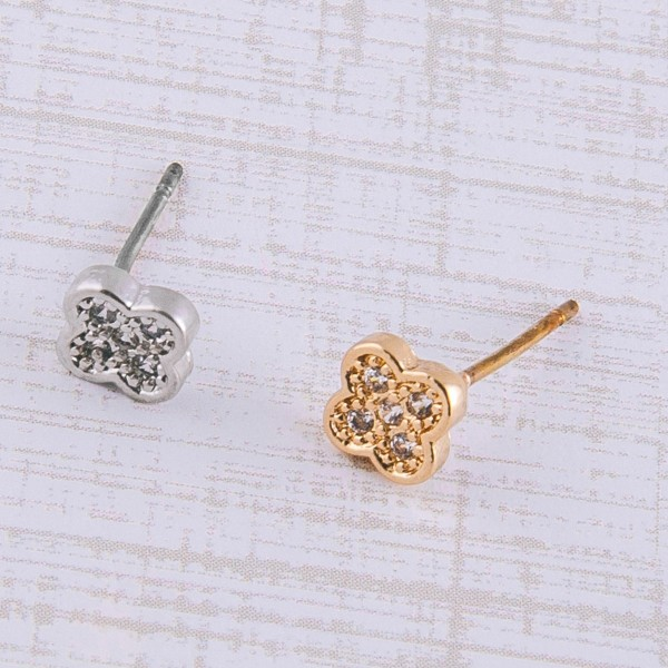 Dainty cubic zirconia clover stud earrings.  - Cubic Zirconia  - Approximately 5mm in size
