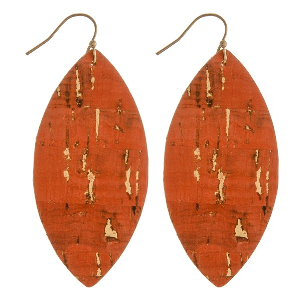 """Thin cork pointed oval drop earrings.  - Approximately 2.5"""" in length"""