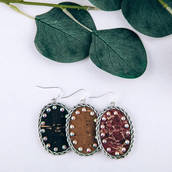 "Metallic cork encased rhinestone drop earrings.  - Approximately 2"" in length"