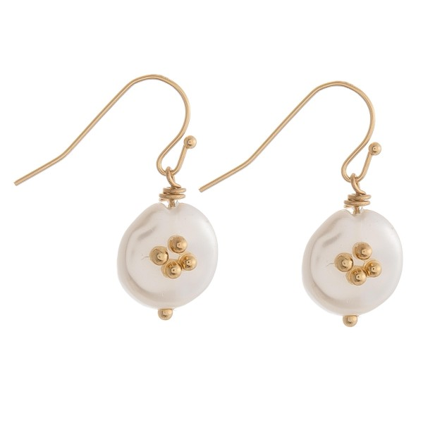 "Faux pearl drop earrings.   - Approximately 1"" in length"