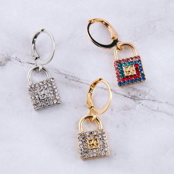 """Rhinestone lock huggie hoop earrings.  - Approximately 1"""" in length"""