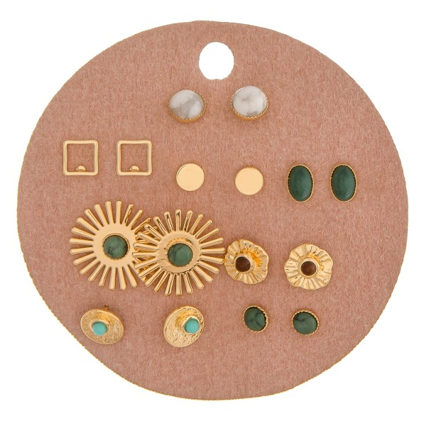 Eight pairs of gold geometric boho stud earrings with natural stone details.  - Approximately 1cm in size