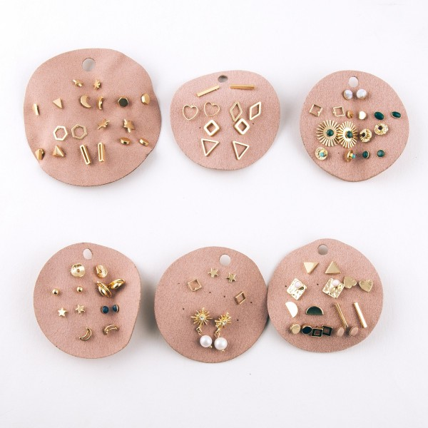 Five pair of matte gold cut out shape stud earrings.  - Approximately 1cm in size