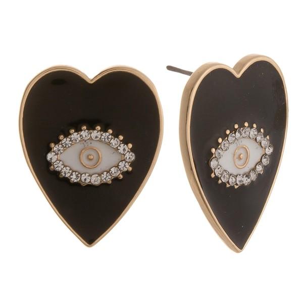 Wholesale epoxy Evil Eye Heart Stud Earrings
