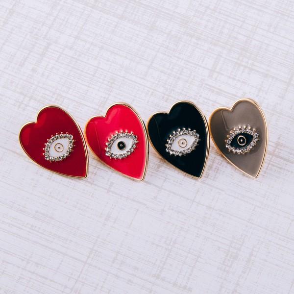 """Epoxy Evil Eye Heart Stud Earrings.  - Approximately 1"""" in length"""