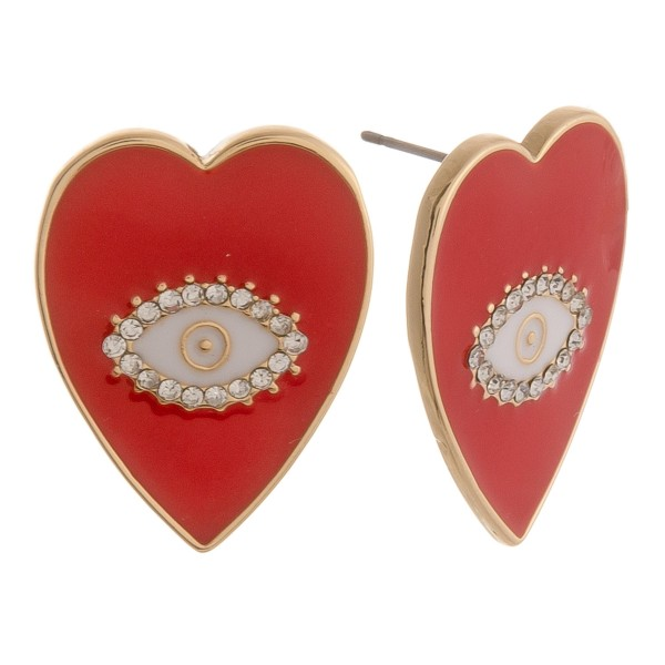 "Epoxy Evil Eye Heart Stud Earrings.  - Approximately 1"" in length"