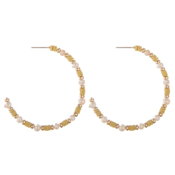"Pearl and spacer beaded open hoop earrings.  - Approximately 2"" in diameter"