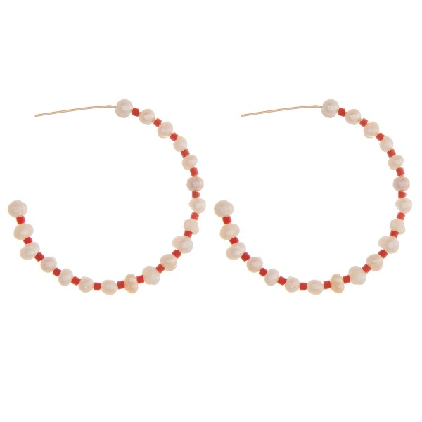 Wholesale pearl beaded open hoop earrings diameter