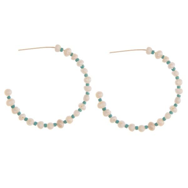 """Pearl beaded open hoop earrings.  - Approximately 1.5"""" in diameter"""