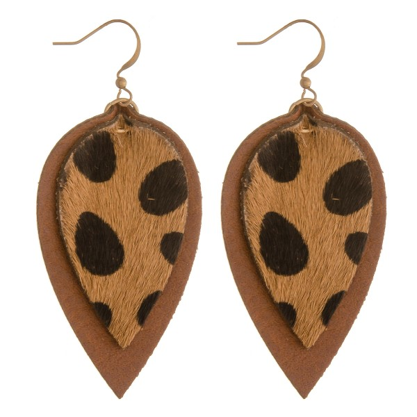 Wholesale cowhide genuine leather layered cheetah print earrings