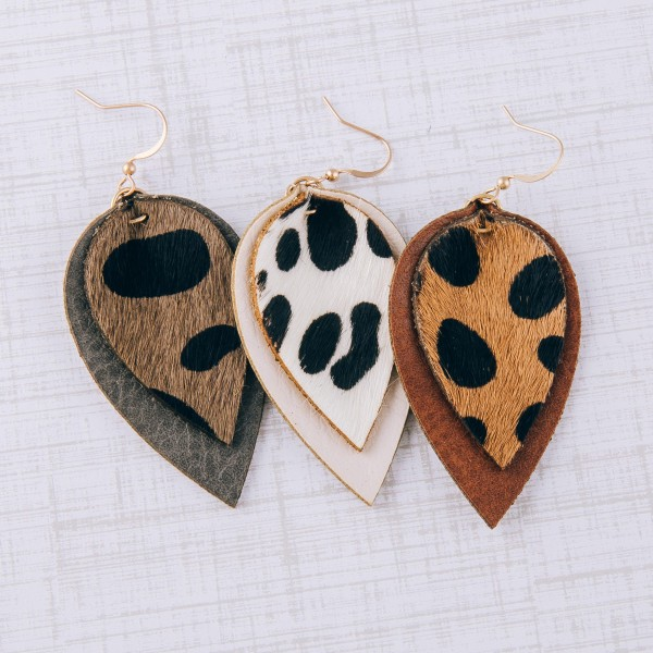 "Cowhide genuine leather layered cheetah print earrings.  - Approximately 2.5"" in length"