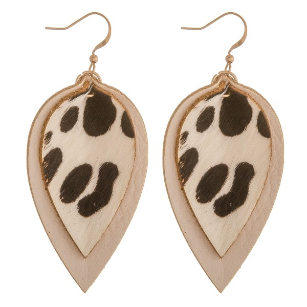 """Cowhide genuine leather layered animal print earrings.  - Approximately 2.5"""" in length"""