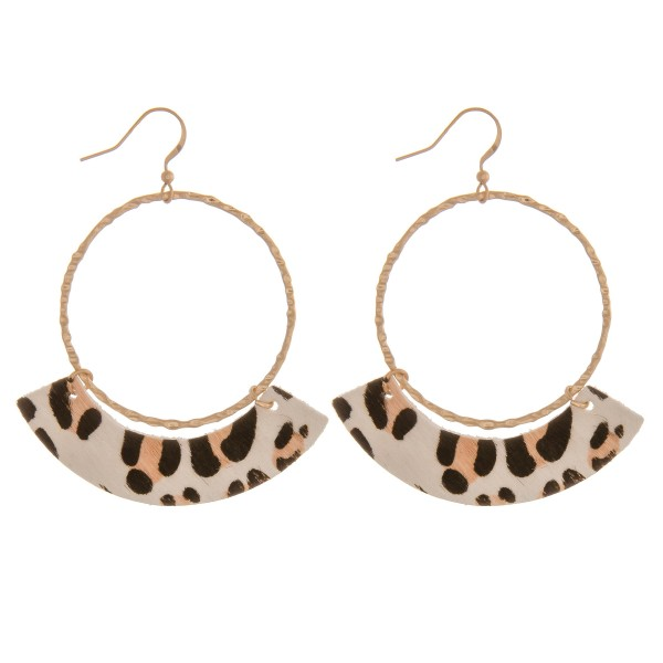 "Genuine leather leopard print accented drop earrings.  - Approximately 2.5"" in length"