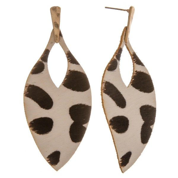 """Genuine leather cow print cowhide cut out drop earrings.  - Approximately 3"""" in length"""