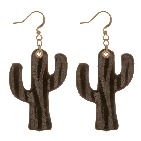 """Genuine leather double sided zebra print cactus earrings.  - Approximately 2.25"""" in length"""
