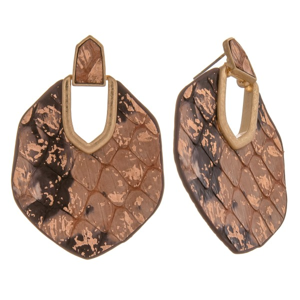"Metallic genuine leather double sided snakeskin hinge earrings.  - Approximately 2.25"" in length"
