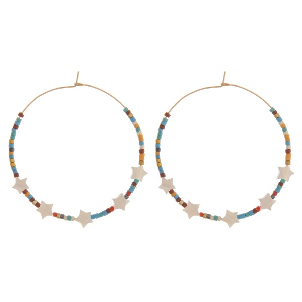 Wholesale seed beaded star wire hook hoop earrings diameter