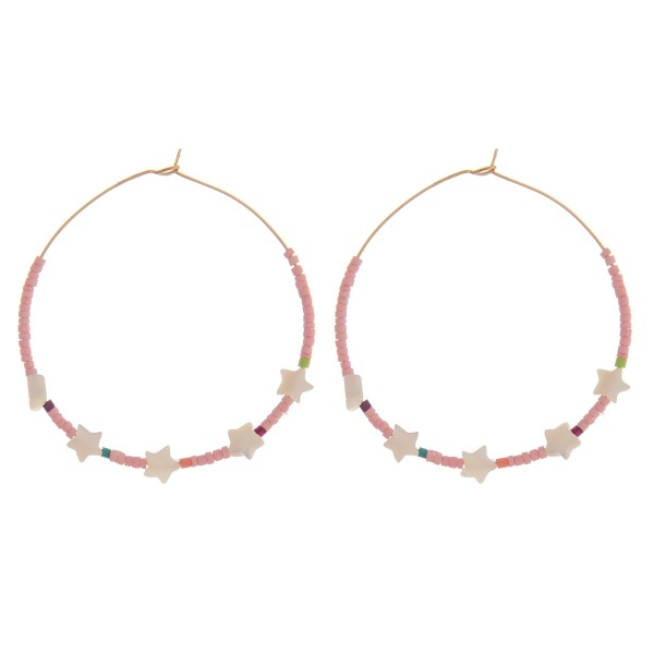 "Seed beaded star wire hook hoop earrings.  - Approximately 2"" in diameter"