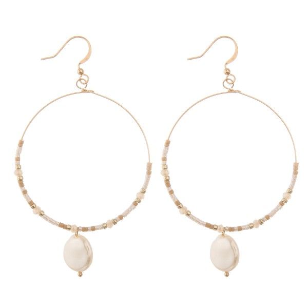"""Seed beaded pearl drop earrings.  - Approximately 2.75"""" L"""