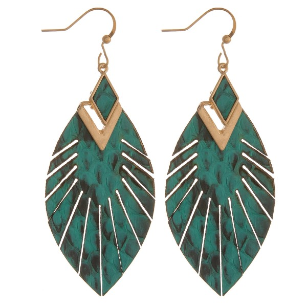 Wholesale genuine leather animal print feather bohemian earrings
