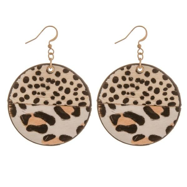 Wholesale genuine leather doubled sided multi animal print earrings diameter