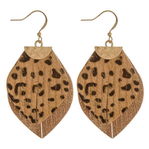 """Genuine leather layered leopard print earrings.  - Approximately 2.25"""" in length"""