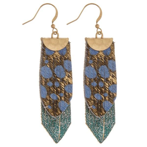 Wholesale genuine leather layered animal print earrings