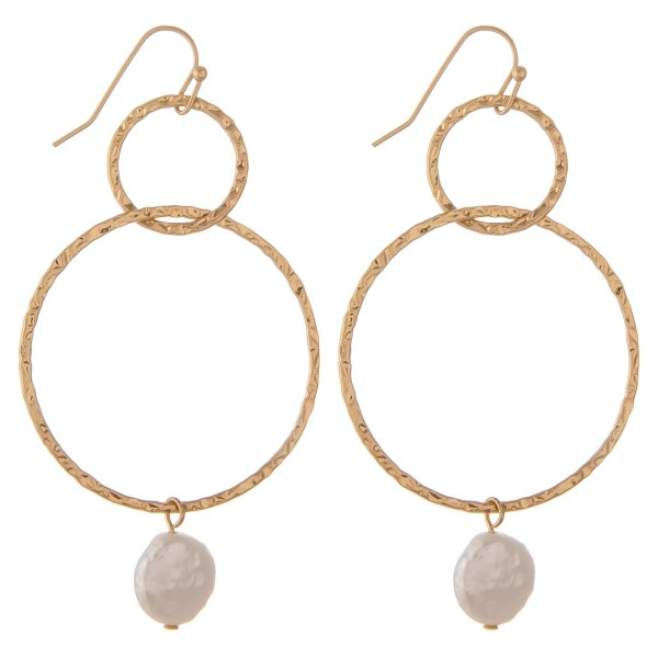 """Double circle faux pearl drop earrings.  - Approximately 2"""" in length"""
