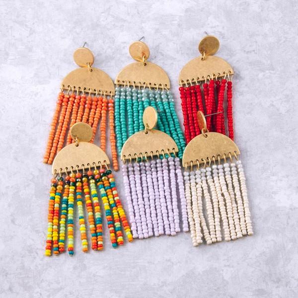 """Beaded Tassel Bohemian Drop Earrings.  - Approximately 3"""" L"""