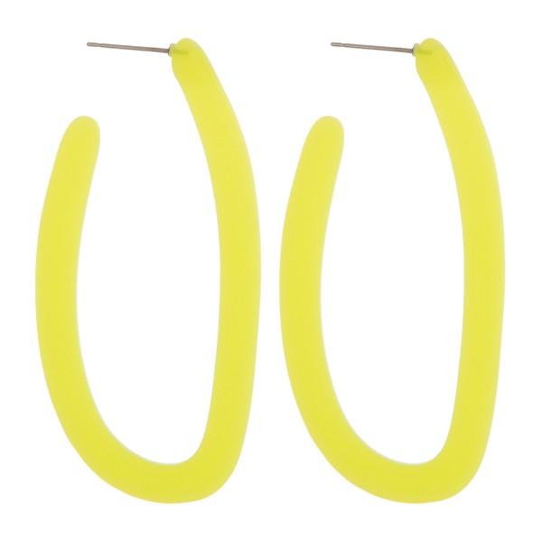 """Resin colored j-hoop earrings.  - Approximately 2.5"""" in length"""