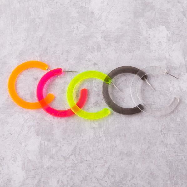 """Transparent resin hoop earrings.  - Approximately 1.5"""" in diameter"""