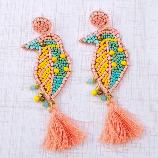 """Multi seed beaded felt fringe tassel bird earrings.  - Approximately 4"""" in length"""