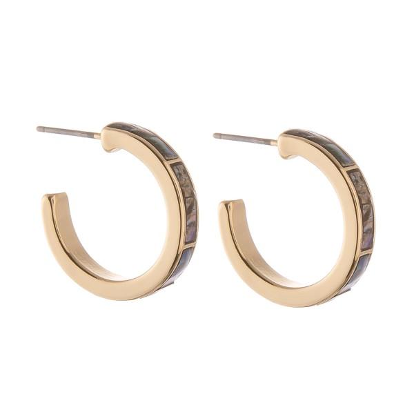 """Genuine Abalone hoop earrings.  - Approximately .75"""" in diameter"""