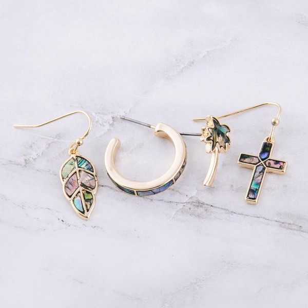 "Genuine Abalone cross drop earrings.  - Approximately .75"" in length"