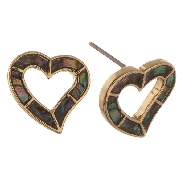 Gold genuine abalone open heart stud earrings.  - Approximately .5""