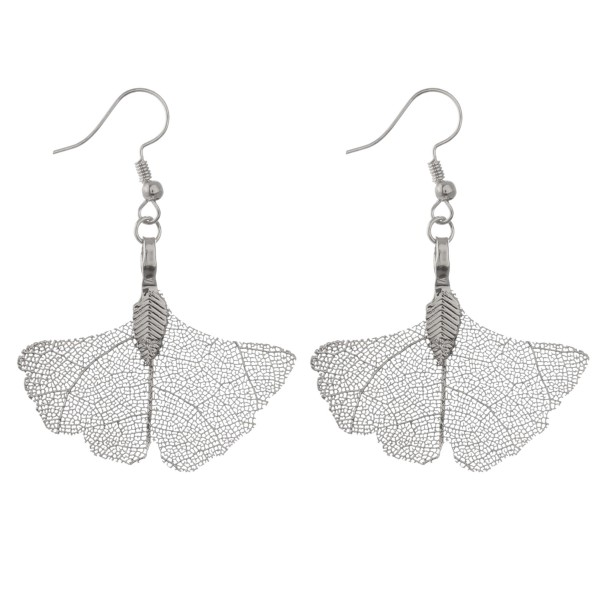 "Ginkgo leave filigree dangle earrings.  - Approximately 2"" in length"